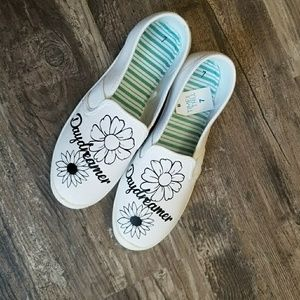 Shoes - White Slip one with flower design